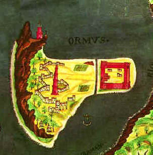 Capture of Ormuz (1507) - Portuguese map of Ormuz, 17th century