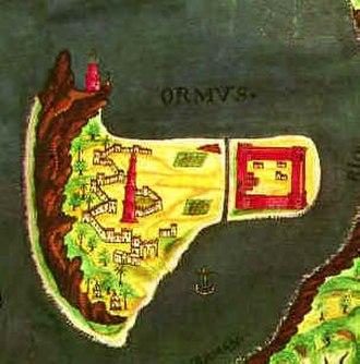 Capture of Ormuz (1507) - Portuguese map of Ormuz, 17th century
