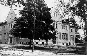 "Winchester, Illinois - 1911 postcard: ""Graded School, Winchester, Ill."""