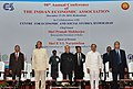 Pranab Mukherjee at the annual conference of the Indian Economic Association, in Hyderabad on December 27, 2015. The Governor of Andhra Pradesh and Telangana, Shri E.S.L. Narasimhan and other dignitaries are also seen.jpg