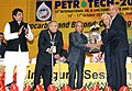 Pranab Mukherjee presenting the Life Time Achievement Award to Shri M.A. Pathan, at the 10th International Oil & Gas Conference and Exhibition - Petrotech-2012.jpg