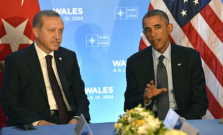Erdogan meeting U.S. President Barack Obama during the 2014 Wales summit in Newport, Wales President Barack Obama meeting with President of Turkey Recep Tayyip Erdogan.jpg