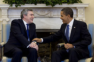 United States President Obama meets former Bri...