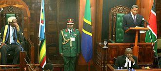 East African Legislative Assembly - Tanzanian President Jakaya Kikwete addressing the Assembly