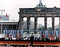President Reagan giving a speech at the Berlin Wall, Brandenburg Gate, Federal Republic of Germany. June 12, 1987.jpg
