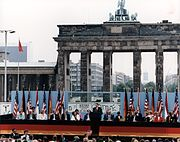 President Reagan giving a speech at the Berlin Wall, Brandenburg Gate, Federal Republic of Germany. June 12, 1987