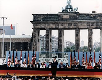 "West Berlin - President Reagan speaking in front of the Brandenburg Gate giving the ""Tear down this wall!"" speech in 1987."