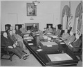 President Truman and his cabinet in the Cabinet Room of the White House. Clockwise at table, Secretary of Interior J.... - NARA - 199649.tif