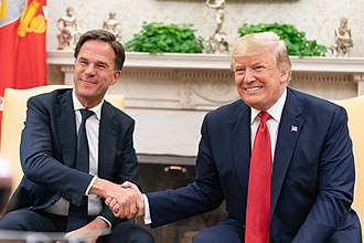 Dutch Prime Minister Mark Rutte and U.S. President Donald Trump in the Oval Office on 18 July 2019. President Trump Meets with the Prime Minister of the Netherlands (48317652116).jpg