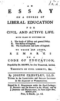 Essay on a Course of Liberal Education for Civil and Active Life cover