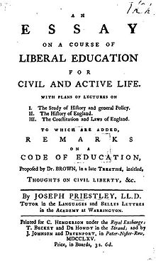 Essay on a course of liberal education for civil and active life