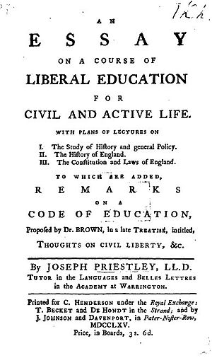 Essay on a Course of Liberal Education for Civil and Active Life - Title page from Joseph Priestley's Essay on Education
