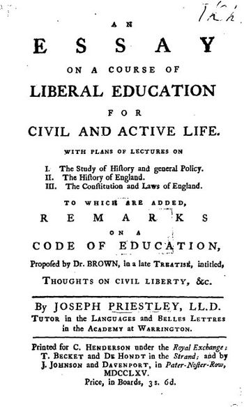 Title page from Joseph Priestley's Essay on a ...