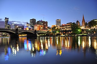 Princes Bridge - Image: Princes Bridge, Flinder Street Station, Federation Square and St. Paul's Cathedral and Melbourne CBD on the background from the Yarra river