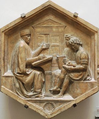 Latin grammar - Priscian, or the Grammar, marble cameo panel dated 1437–1439 from the bell tower of Florence, Italy, by Luca della Robbia. The scene is an allegory of grammar and, by implication, all of education. Note the opening door in the background and the unshod feet of the first pupil.