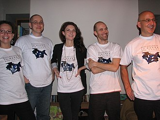 Tomasz Witkowski - Witkowski (right) and fellow skeptics at a 2012 protest of abuses in psychology.
