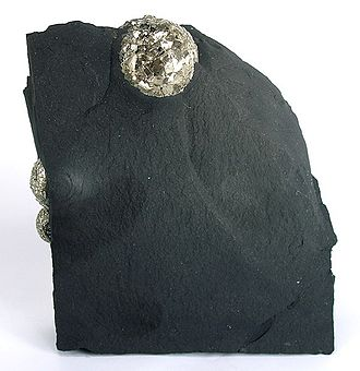 Chichester Range - Unusual occurrence of Pyrite on black shale, near old Millstream Station