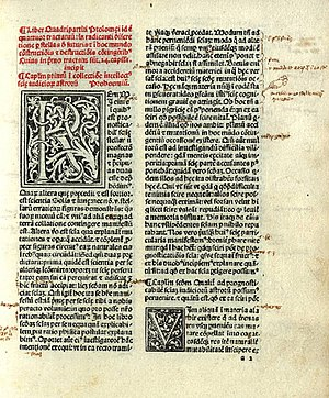 Tetrabiblos - Opening page of Tetrabiblos: 15th-century Latin reproduction of the 12th-century translation of Plato of Tivoli; published in Venice by Erhard Ratdolt, 1484.