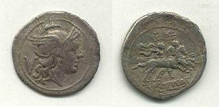 silver Roman coin, half a denarius