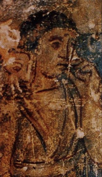 Jordanian art - Fresco at Qusayr Amra Hamman (bath-house), an example of Umayyad art from Jordan, 8th century