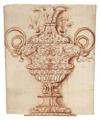 Rödkriteteckning föreställande urna, 1700-tal - Skoklosters slott - 99212.tif