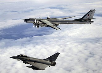Quick Reaction Alert - A QRA Typhoon from XI Sqn at Coningsby escorts a Russian Bear (Tupolev Tu-95) in August 2008