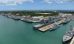An aerial view of ships moored at JB Pearl Harbor-Hickam during Rim of the Pacific (RIMPAC) Exercise 2014.