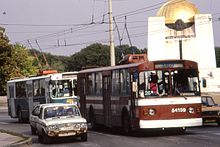 RUSE BULGARIA.тролей Two Ziu-682 Trolleybuses, 54529 and 54159 with Lada Oct 1993 - Flickr - sludgegulper.jpg