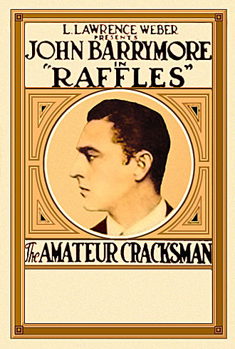 E. W. Hornung - Poster for the 1917 film Raffles, the Amateur Cracksman, with John Barrymore