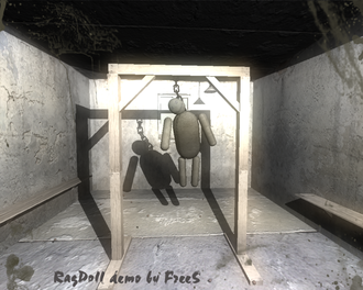 """Newton Game Dynamics - Ragdoll demonstration. This demo uses """"Newton Game Dynamics"""", free """"OGRE"""" graphics engine, and free texture library """"DevIL""""."""