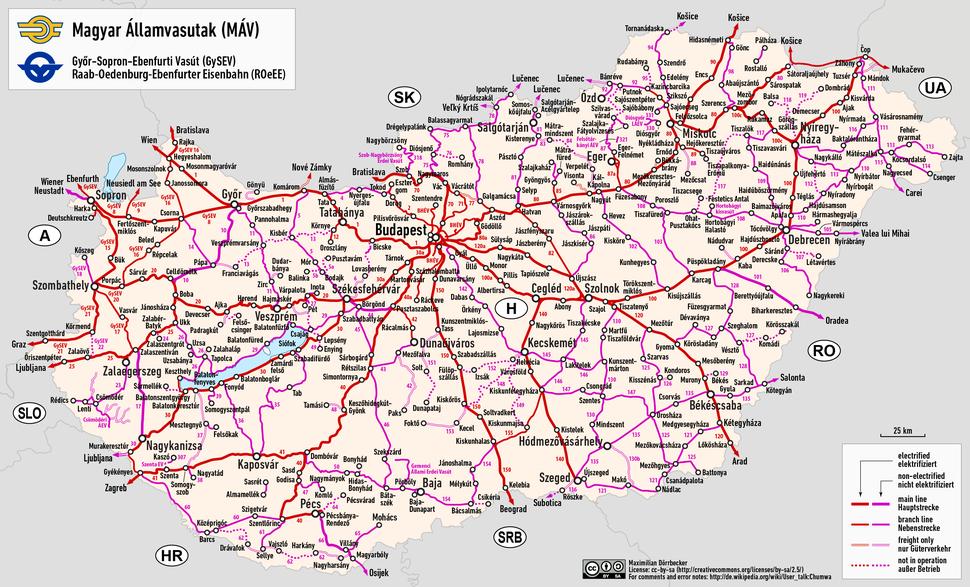 Railway map of Hungary