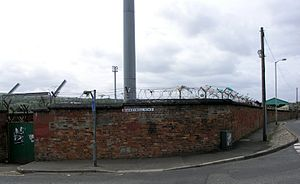 """Brandywell Stadium - Road sign outside the stadium, changed to """"Randywell road""""."""