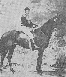 Ranieri Galletti in sella a Fitz Orphelin, vincitore della Corsa dell'Arno del 1874