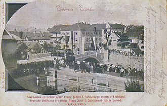 Dragon Bridge (Ljubljana) - A postcard with a photograph of the unveiling of the Dragon Bridge in October 1901