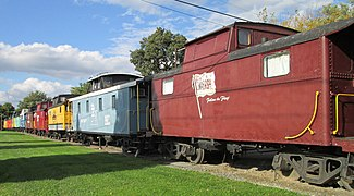 The Red Caboose Motel in Ronks consists of decommissioned railroad cabooses (2014)