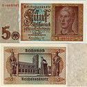 5 ℛℳ,- Banknote with a German youth