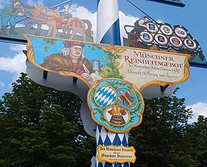 Reinheitsgebot - Sign celebrating the 1487 Munich Reinheitsgebot.