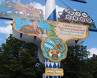 Reinheitsgebot - Sign celebrating the 1487 Munich Reinheitsgebot.