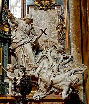 Pierre Le Gros the Younger - Religion Overthrowing Heresy and Hatred, Church of the Gesù, Rome