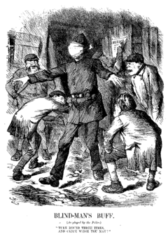 Punch cartoon by John Tenniel (22 September 1888) criticising the police's alleged incompetence.