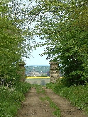 Welburn, Derwent - A view of Castle Howard through The Exclamation Gates, from the old road built for Queen Victoria