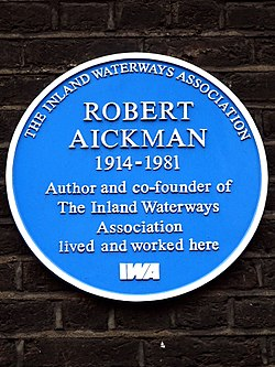 Robert aickman 1914 1981 author and co founder of the inland waterways association lived and worked here