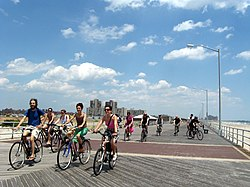 The Rockaway Boardwalk, a visitor attraction on the peninsula