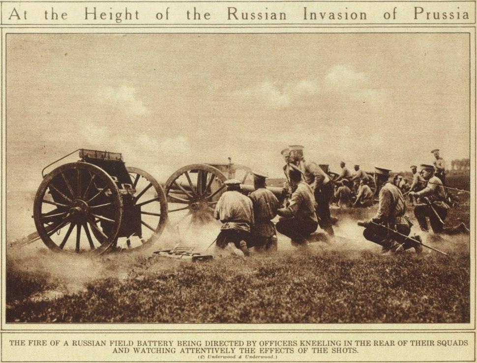 Russian battery WWI 76 mm model 1902 guns