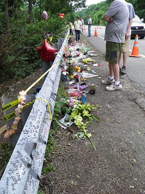 Transportation safety in the United States - Flowers, balloons, and notes left at the crash scene of an American citizen