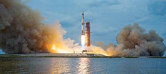 Skylab - Launch of the modified Saturn V rocket carrying the Skylab space station