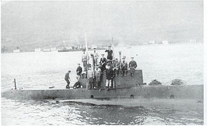 U-12 entering Pola Harbor in 1914