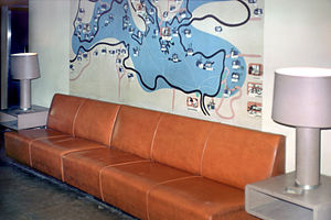 Miné Okubo - Okubo's Mediterranean map mural in the main foyer of the ex-SS Exochorda, photographed in 1975 when the renamed SS ''Stevens'' was serving as a floating dormitory at Stevens Institute of Technology.
