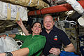 STS-133 Nicole Stott and Eric Boe on Discovery's middeck.jpg
