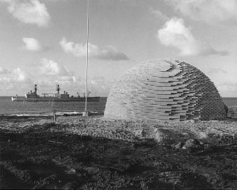 500 tons of TNT (5 by 10 m (17 by 34 ft)) awaiting detonation at Operation Sailor Hat. Sailor Hat Shot.jpg